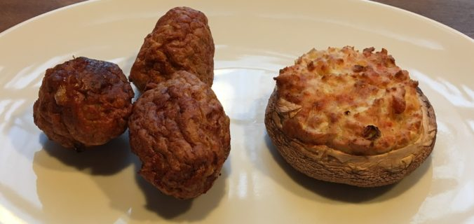 portobello svampe med kartoffelmos