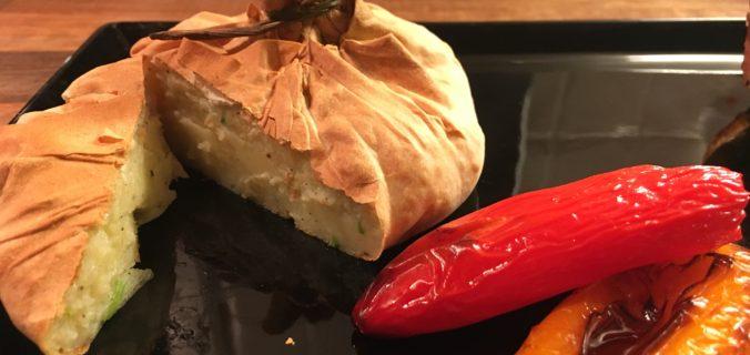 Filodej med kartoffelmos og grillede mini peberfrugter