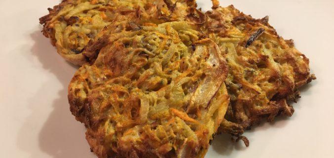 kartoffel rösti med gulerødder og løg