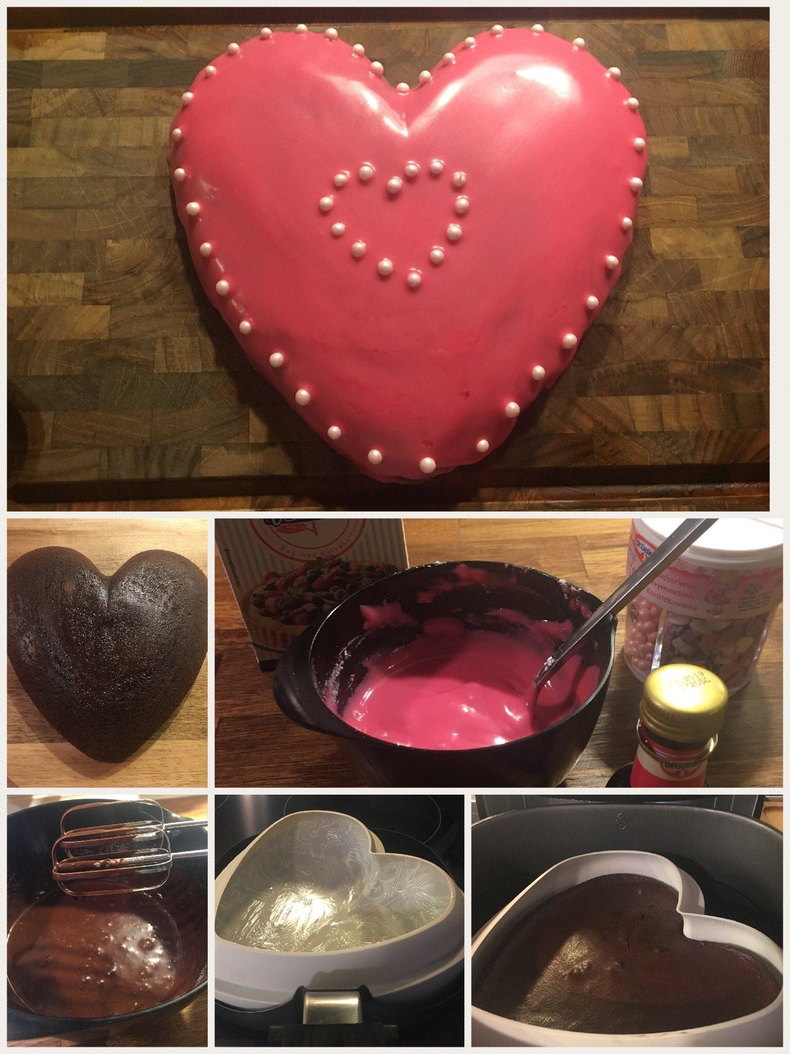 Stort chokoladekage hjerte med glasur og pynt