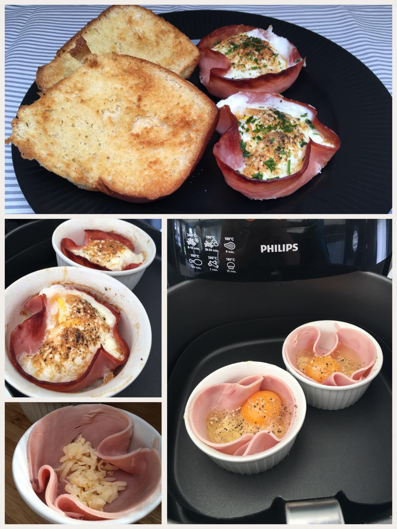Skinke skåle med ost og æg (blød eller hårdkogte)