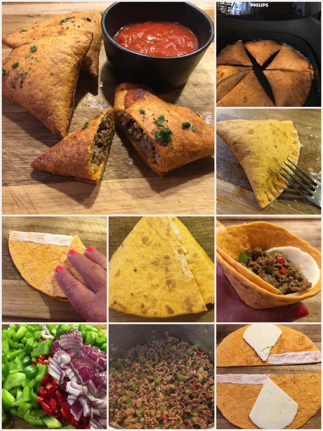 Tortilla trekanter med hakket oksekød, ost og salsa