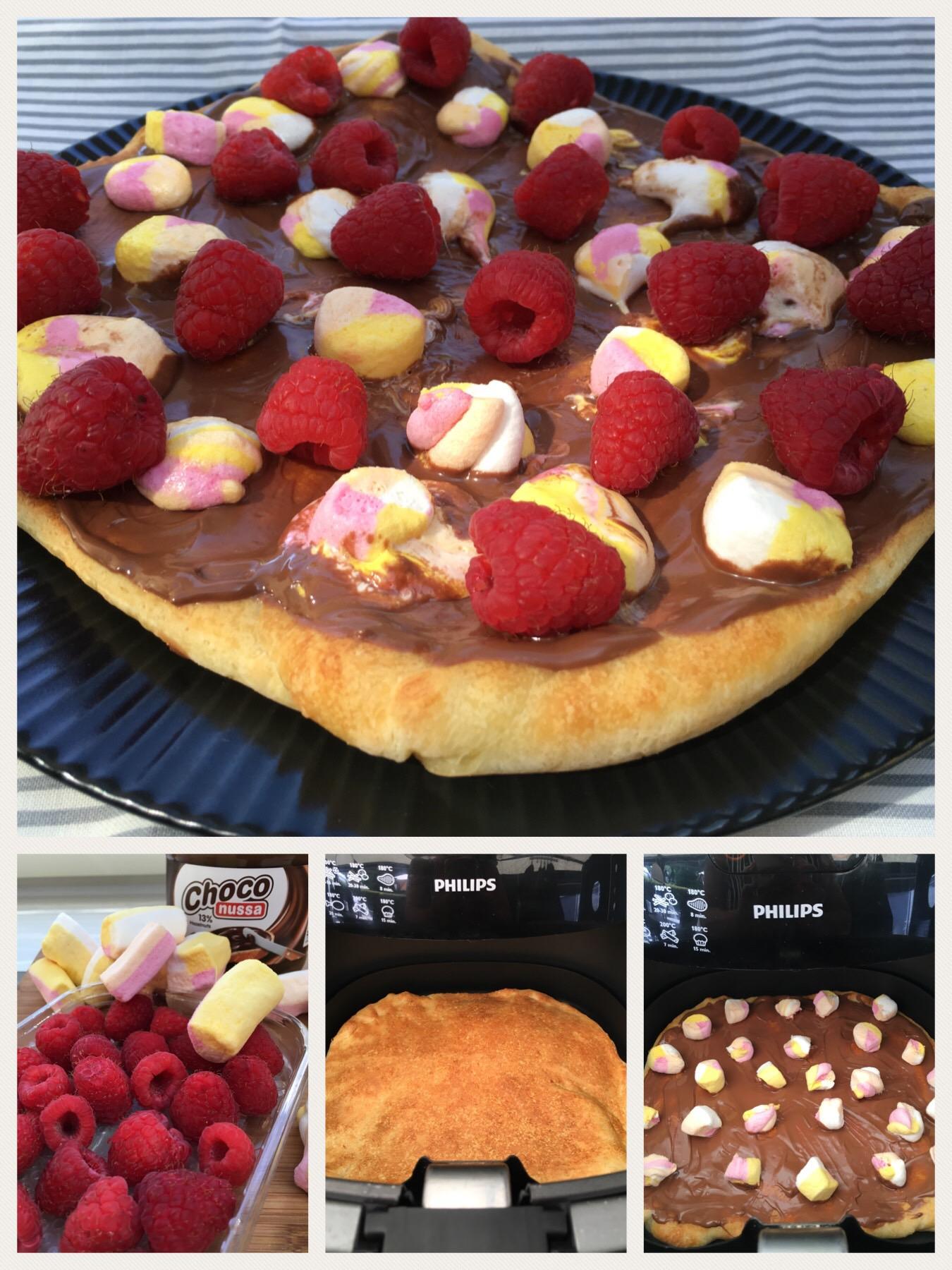 Dessert pizza med chokolade, skumfidus og hindbær