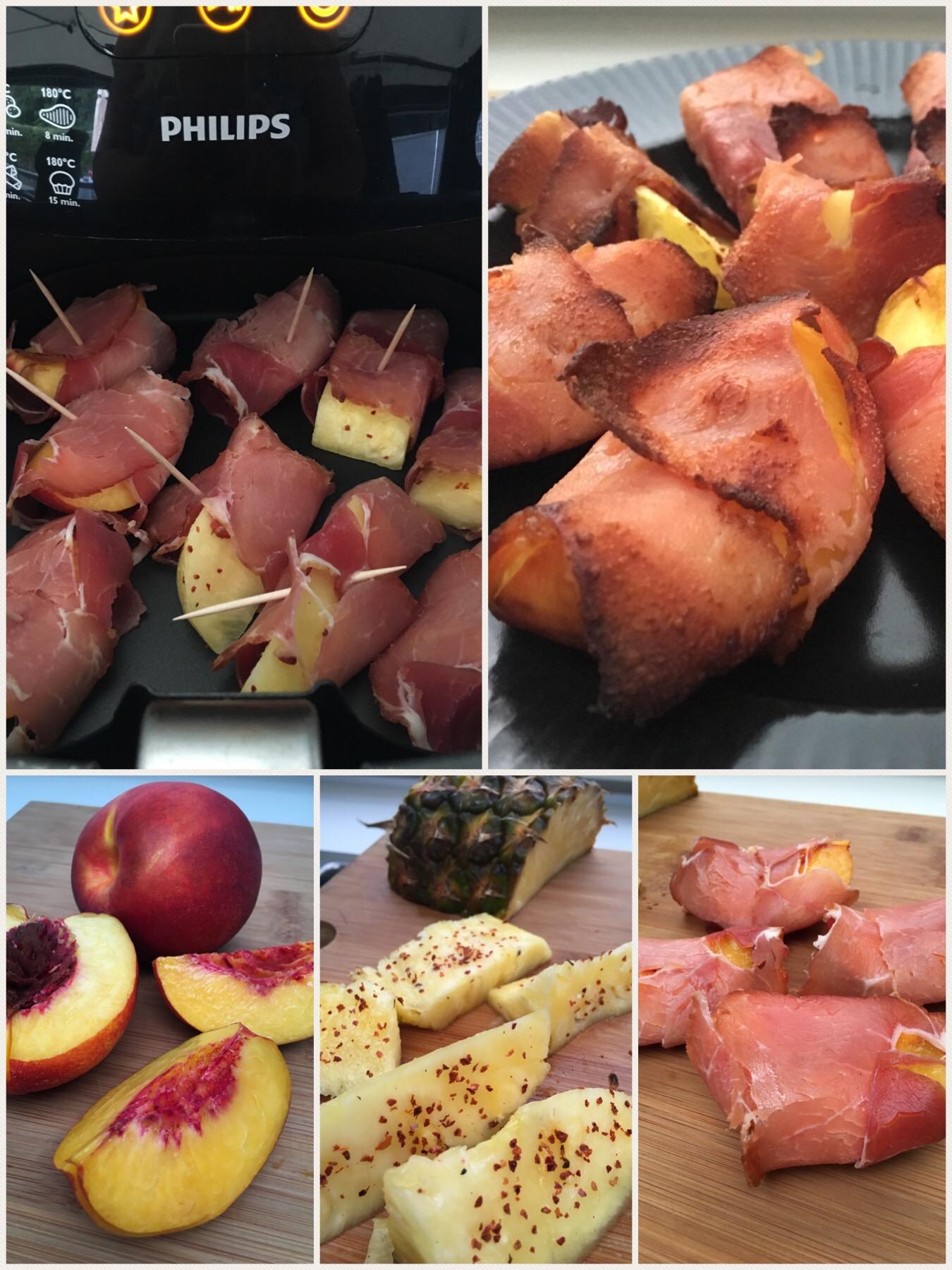 Grillet nektarin og chili ananas med røget skinke