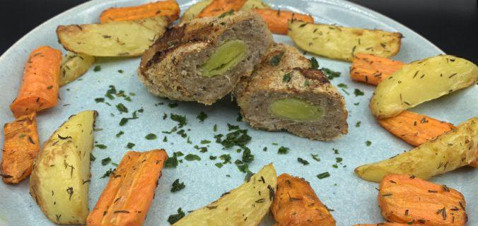 farserede porrer med timian kartofler og gulerødder