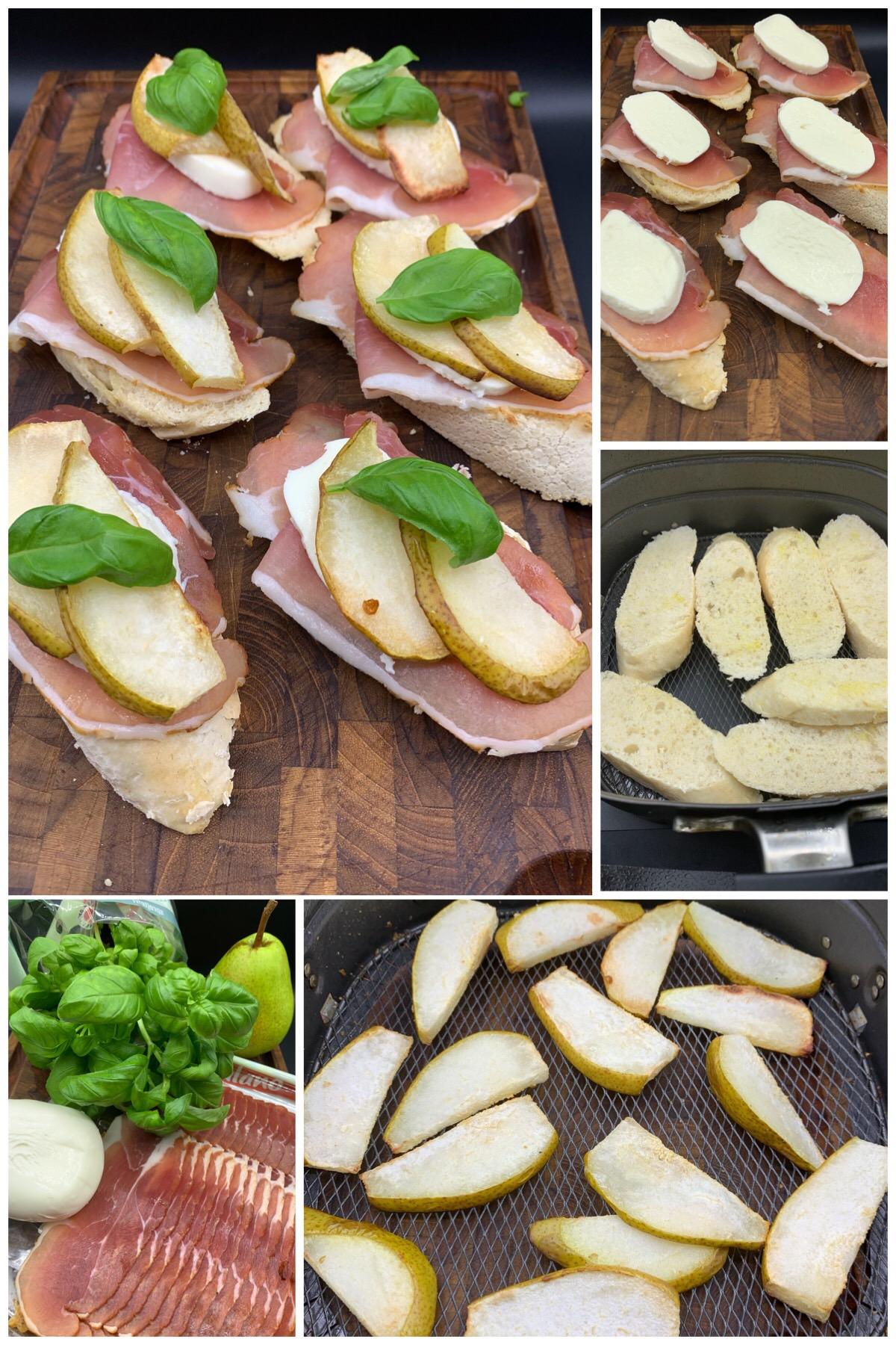 Crostini med grillet pære, parmaskine, bøfmozzarella og frisk basilikum