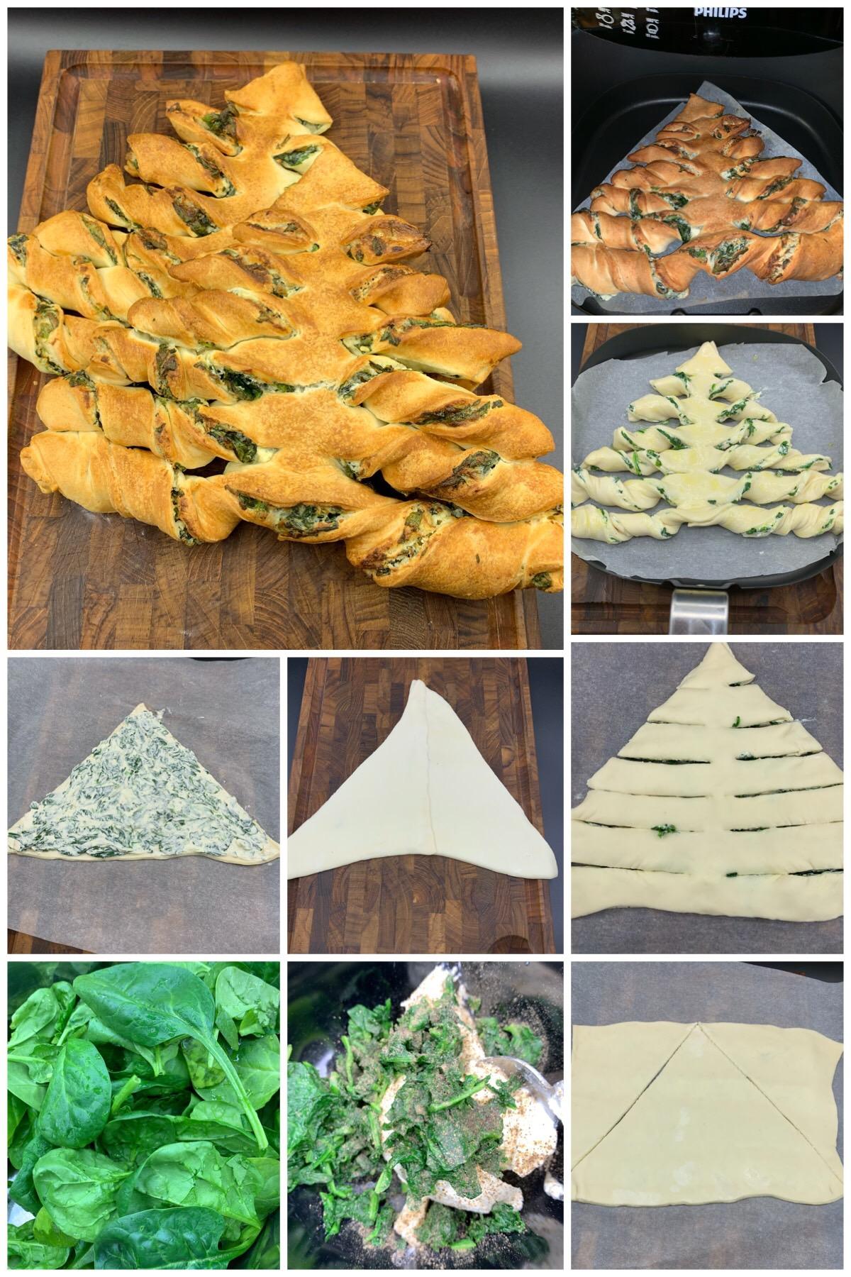 Juletræs brødstænger med spinat og flødeost