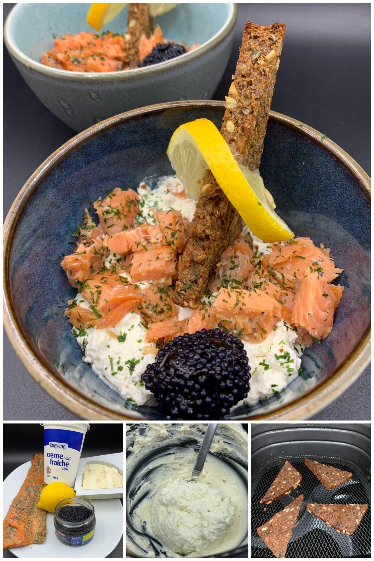 Ristede rugbrødstrekanter med røget laks, rygeostecreme og kaviar