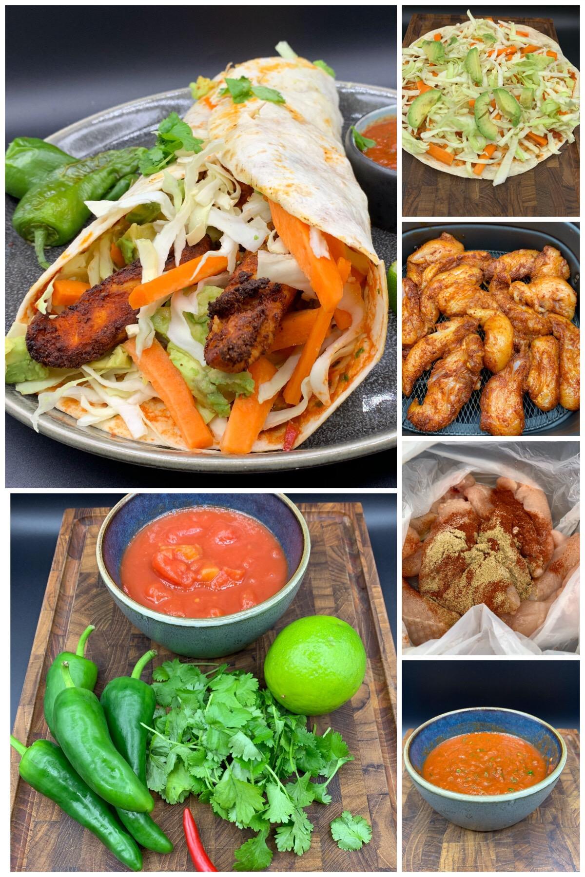 Spicy tortilla wraps med kylling, spidskål, avokado, lime og koriander dressing