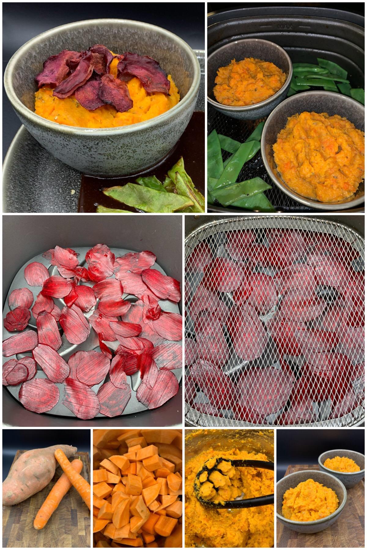 Bagt kartoffelmos med søde kartofler, gulerødder, rosmarin og rødbede chips