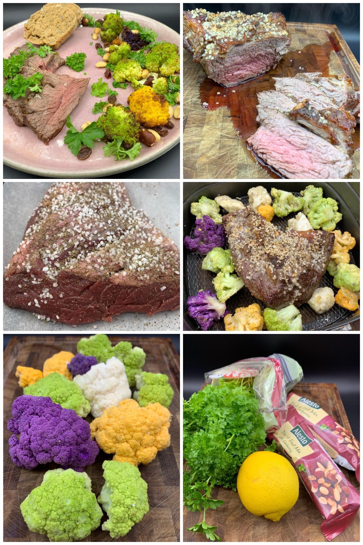 Cuvettesteg med smørbagte blomkål, persille og salatknas