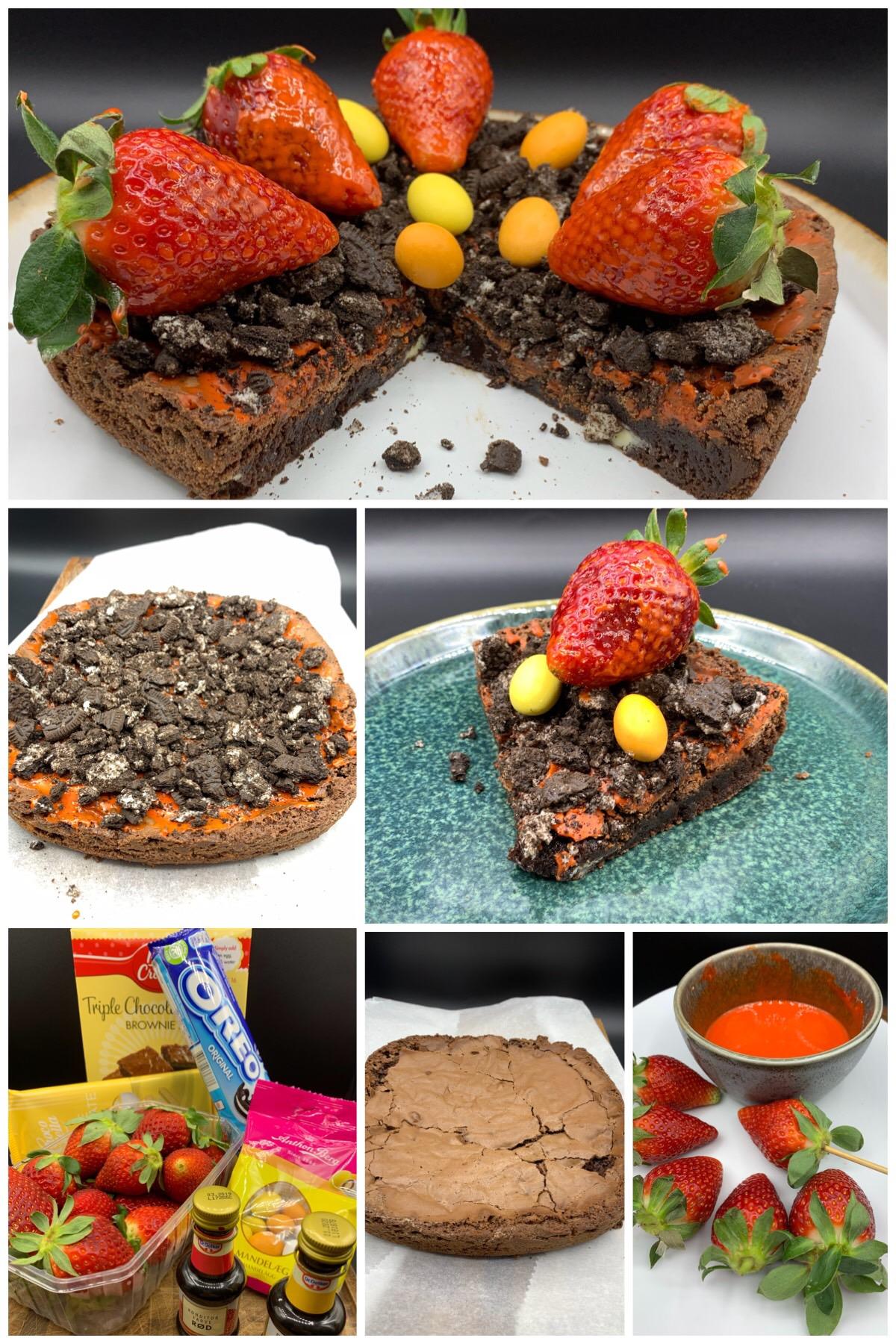 Brownie med jordbær, påskeæg og Oreos