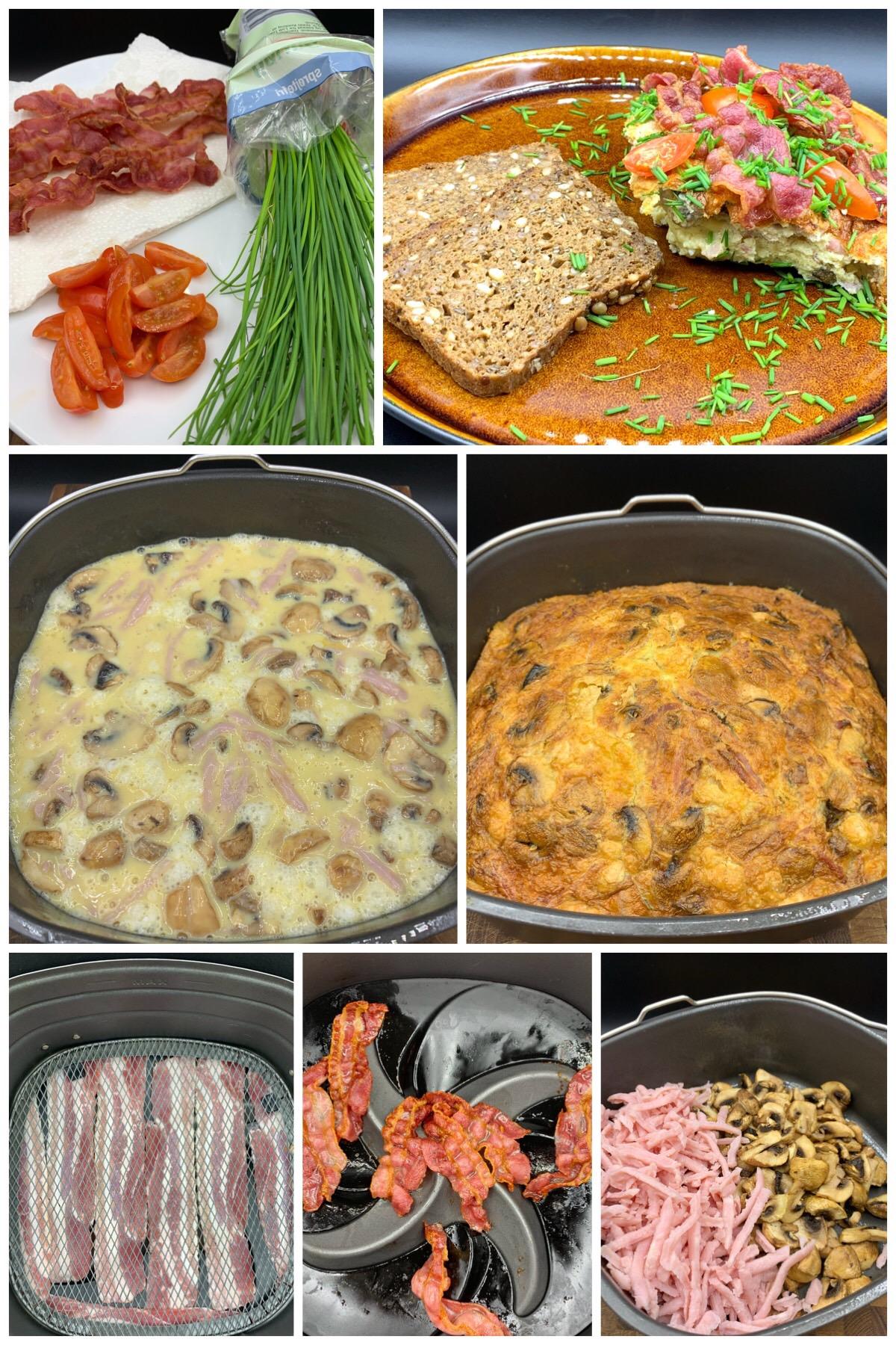 Æggekage med champignon, skinke, bacon, tomater og purløg
