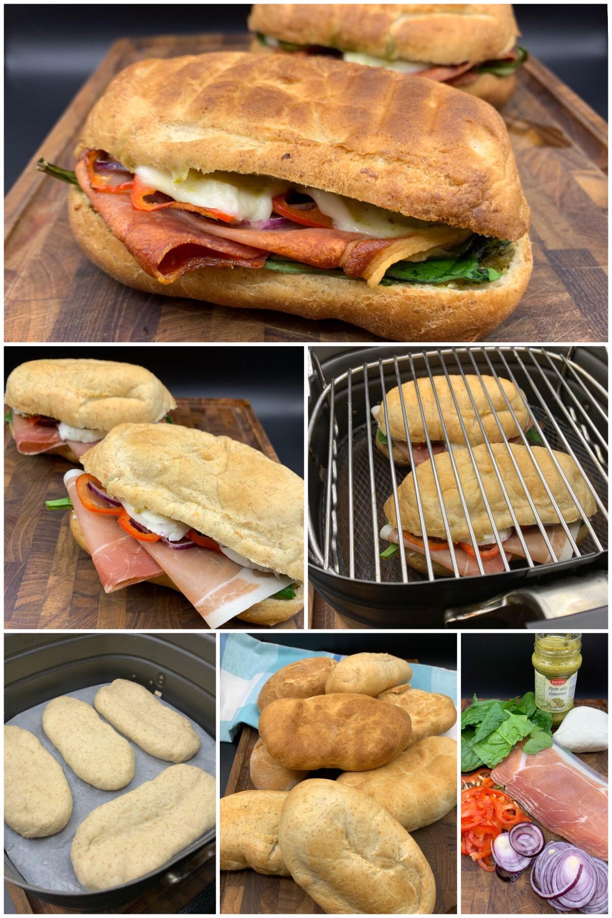 Hjemmelavede panini sandwich med parmaskinke, pesto, spinat og mozzarella