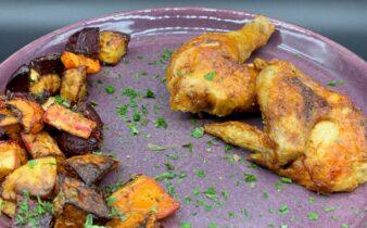 Helstegt kylling med grillede rodfrugter