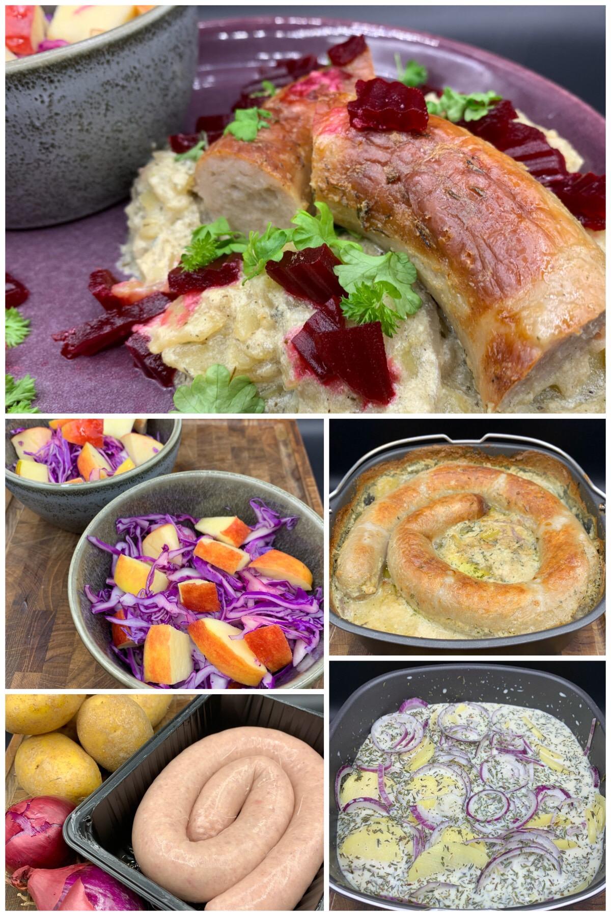 Medister i fad med kartofler, løg, sauce, rødbeder og spidskålssalat