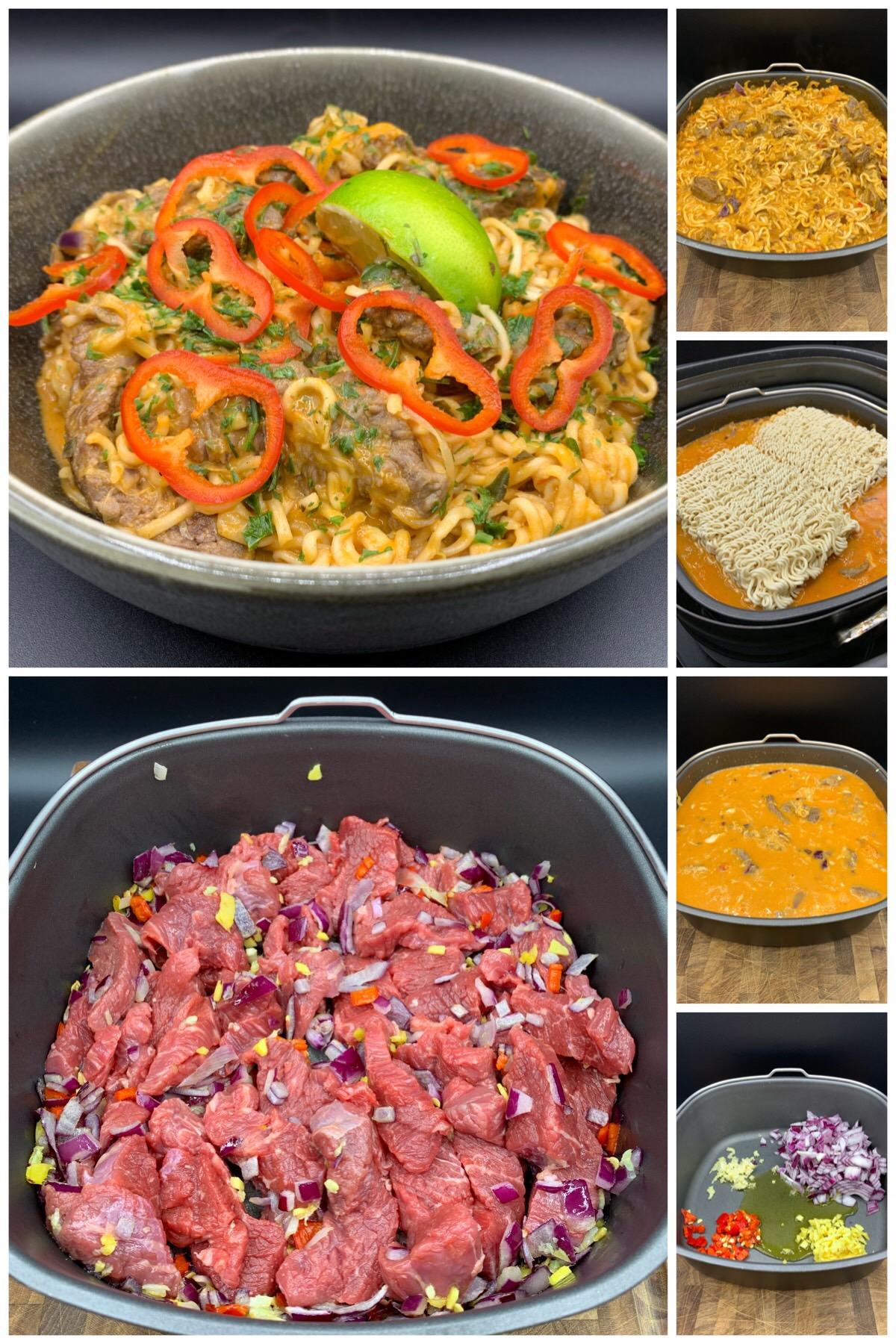 Thai gryde med oksekød, nudler, ingefær, peberfrugt, chili og spidskål