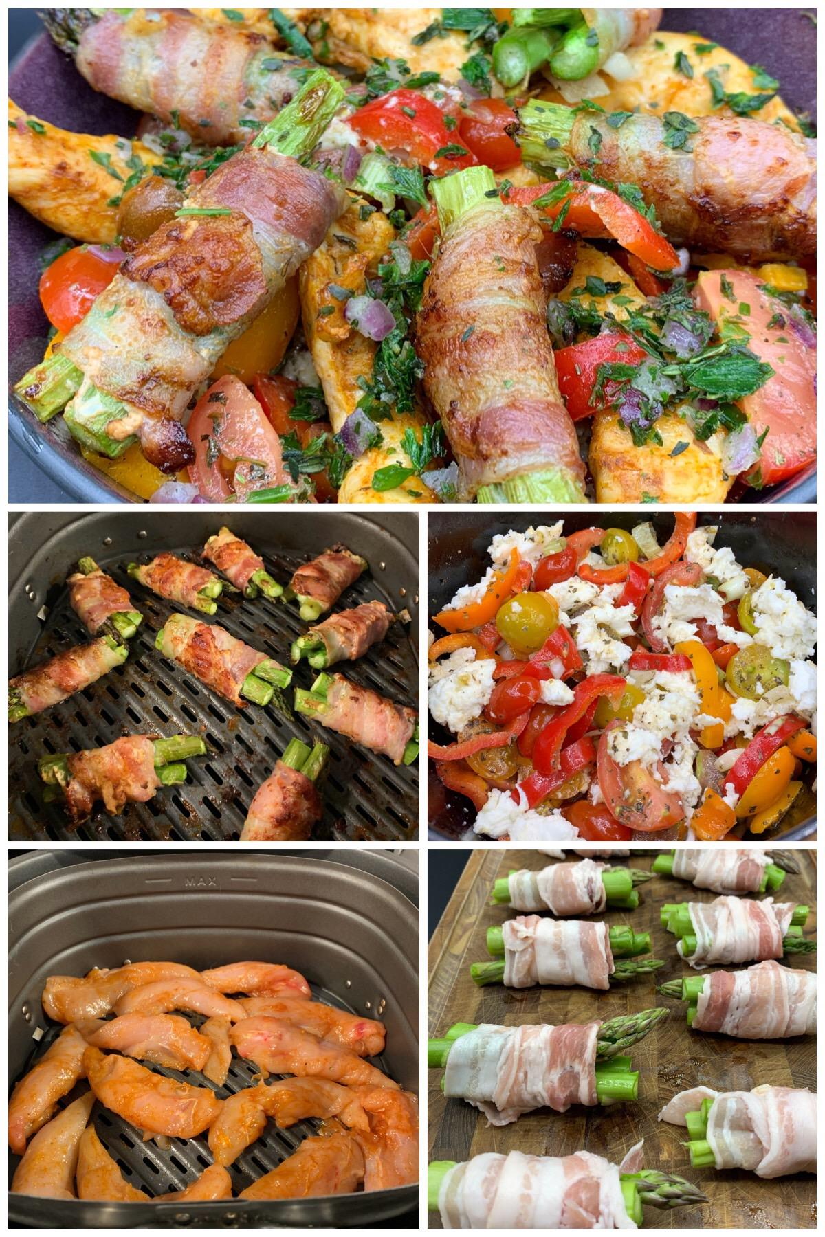 Tomatsalat med kylling, forårsløg, mozzarella og små aspargespakker i baconsvøb